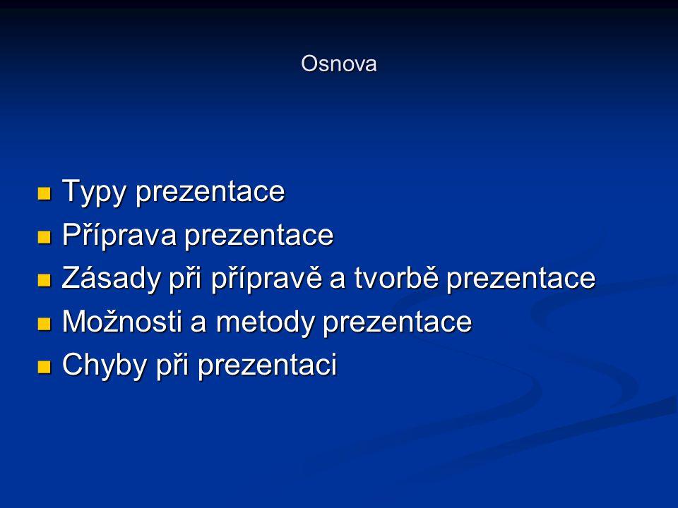 Osnova Typy prezentace Typy prezentace Příprava prezentace Příprava prezentace Zásady při přípravě a tvorbě prezentace Zásady při přípravě a tvorbě pr