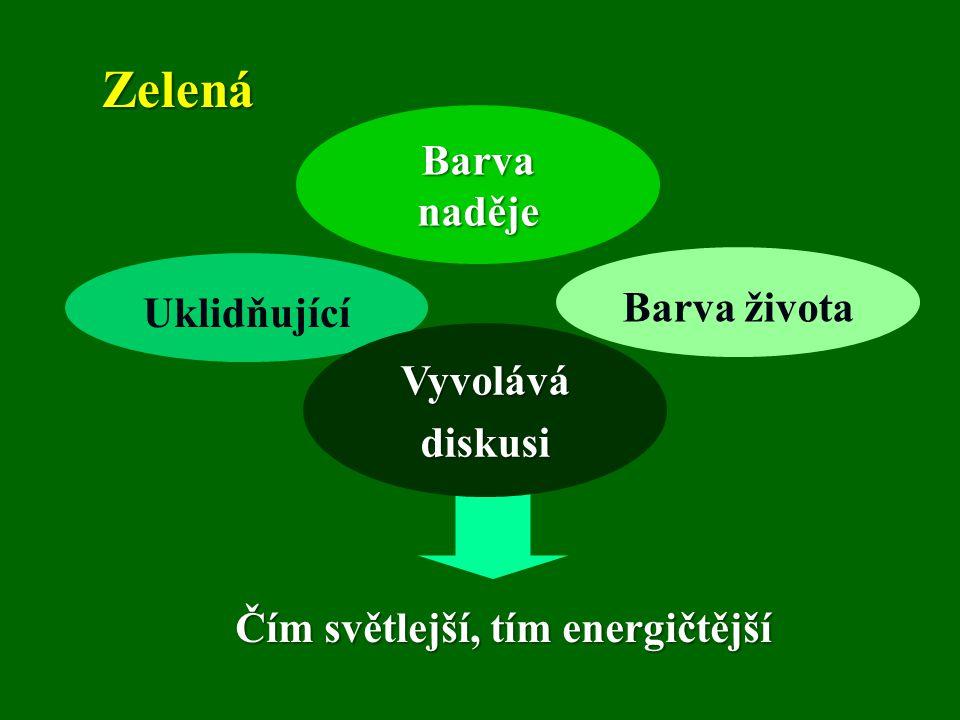 Zelená Barva života Barva naděje Uklidňující Vyvolávádiskusi Čím světlejší, tím energičtější