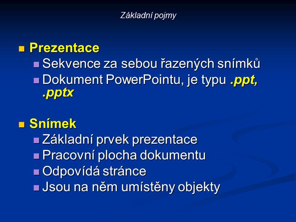 Základní pojmy Prezentace Prezentace Sekvence za sebou řazených snímků Sekvence za sebou řazených snímků Dokument PowerPointu, je typu.ppt,.pptx Dokum