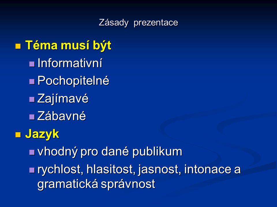 Zásady prezentace Téma musí být Téma musí být Informativní Informativní Pochopitelné Pochopitelné Zajímavé Zajímavé Zábavné Zábavné Jazyk Jazyk vhodný