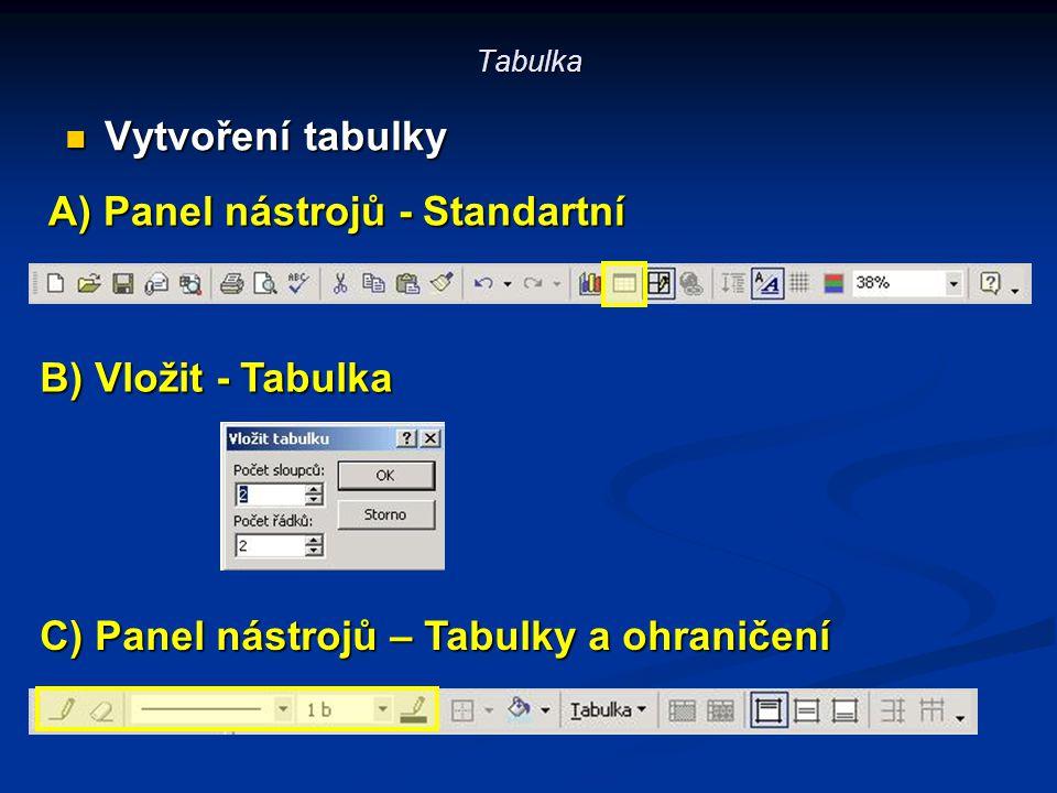 Tabulka Vytvoření tabulky Vytvoření tabulky A) Panel nástrojů - Standartní C) Panel nástrojů – Tabulky a ohraničení B) Vložit - Tabulka
