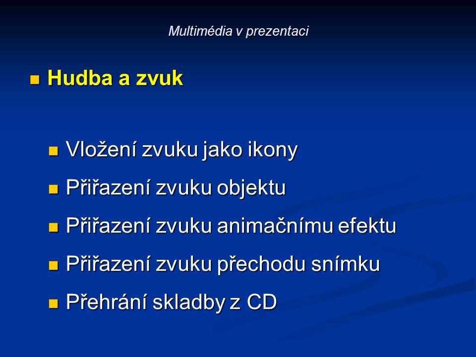 Multimédia v prezentaci Hudba a zvuk Hudba a zvuk Vložení zvuku jako ikony Vložení zvuku jako ikony Přiřazení zvuku objektu Přiřazení zvuku objektu Př
