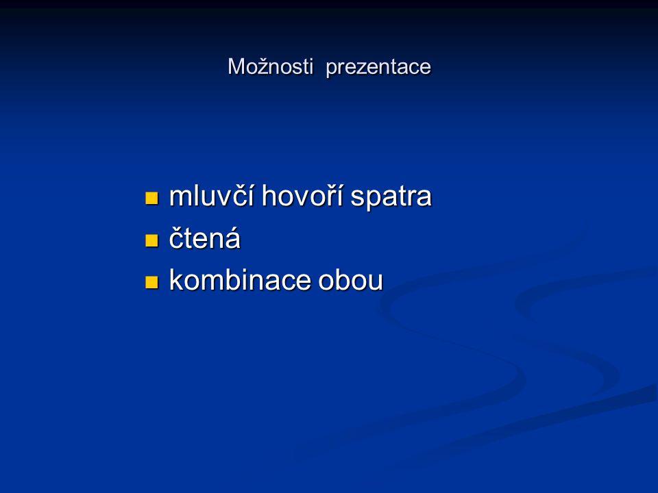 Možnosti prezentace mluvčí hovoří spatra mluvčí hovoří spatra čtená čtená kombinace obou kombinace obou