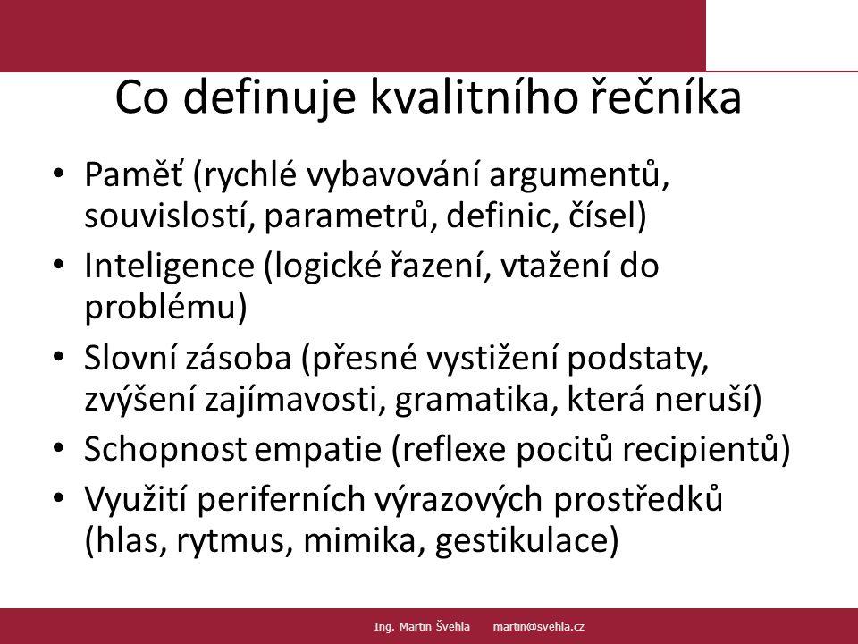 Co definuje kvalitního řečníka Paměť (rychlé vybavování argumentů, souvislostí, parametrů, definic, čísel) Inteligence (logické řazení, vtažení do problému) Slovní zásoba (přesné vystižení podstaty, zvýšení zajímavosti, gramatika, která neruší) Schopnost empatie (reflexe pocitů recipientů) Využití periferních výrazových prostředků (hlas, rytmus, mimika, gestikulace) 14.