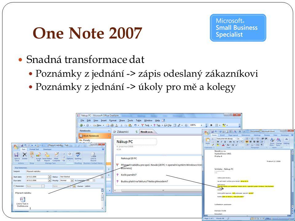 One Note 2007 Snadná transformace dat Poznámky z jednání -> zápis odeslaný zákazníkovi Poznámky z jednání -> úkoly pro mě a kolegy