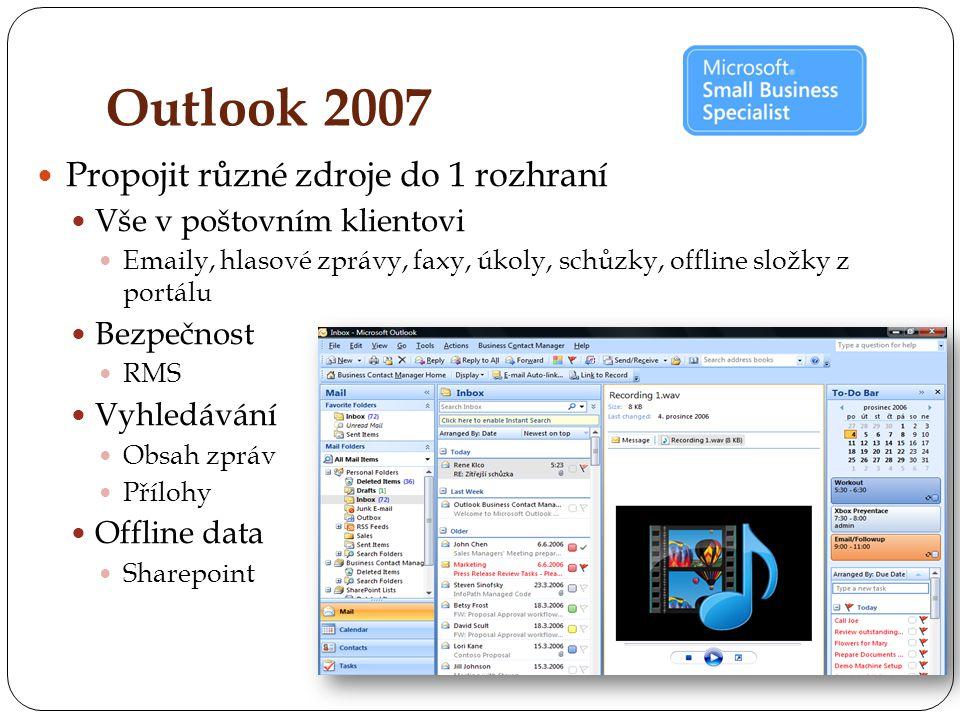 Outlook 2007 Propojit různé zdroje do 1 rozhraní Vše v poštovním klientovi Emaily, hlasové zprávy, faxy, úkoly, schůzky, offline složky z portálu Bezpečnost RMS Vyhledávání Obsah zpráv Přílohy Offline data Sharepoint
