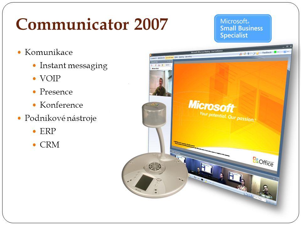 Komunikace Instant messaging VOIP Presence Konference Podnikové nástroje ERP CRM Communicator 2007