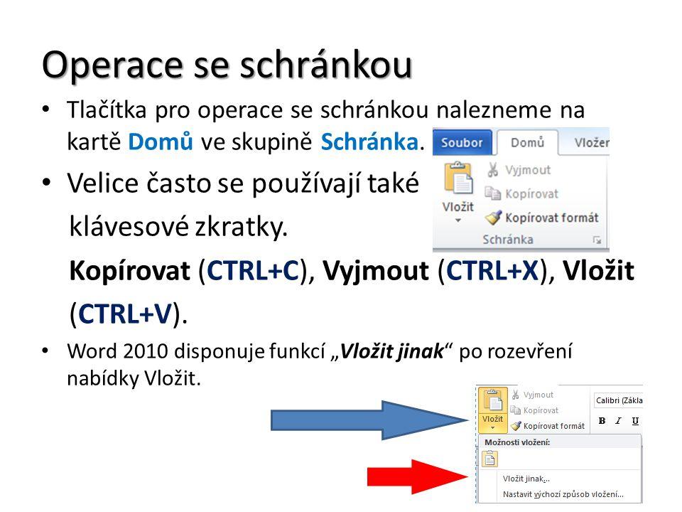 Operace se schránkou Tlačítka pro operace se schránkou nalezneme na kartě Domů ve skupině Schránka. Velice často se používají také klávesové zkratky.