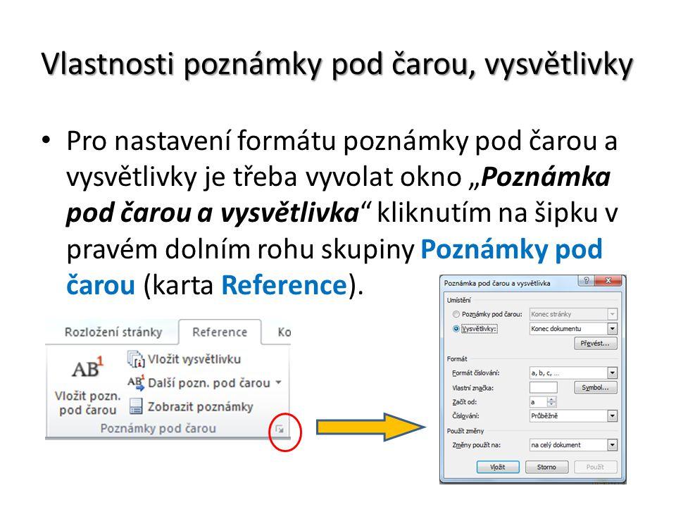 Komentář v textu Komentář v textu je poznámka, kterou přiřadíme ke slovu v textu.