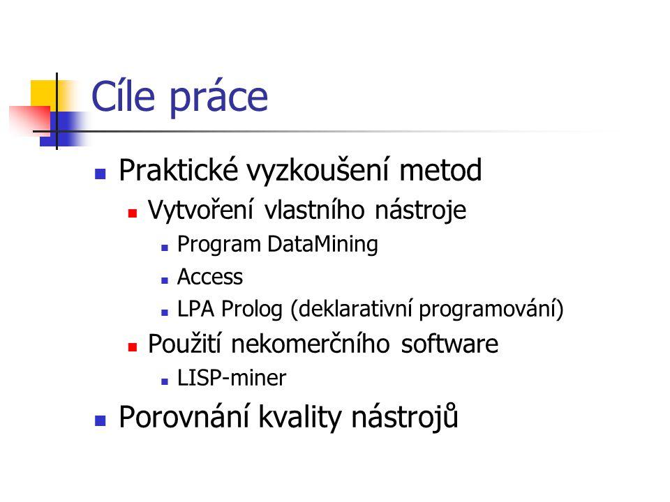 Cíle práce Praktické vyzkoušení metod Vytvoření vlastního nástroje Program DataMining Access LPA Prolog (deklarativní programování) Použití nekomerčního software LISP-miner Porovnání kvality nástrojů