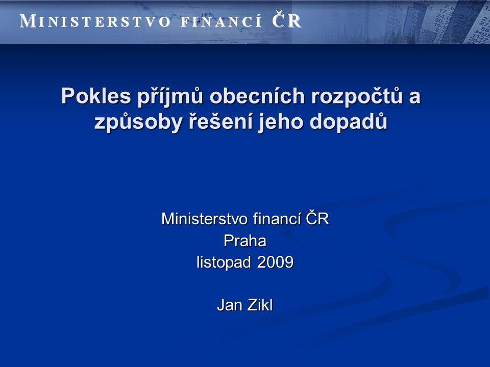 Pokles příjmů obecních rozpočtů a způsoby řešení jeho dopadů Ministerstvo financí ČR Praha listopad 2009 Jan Zikl