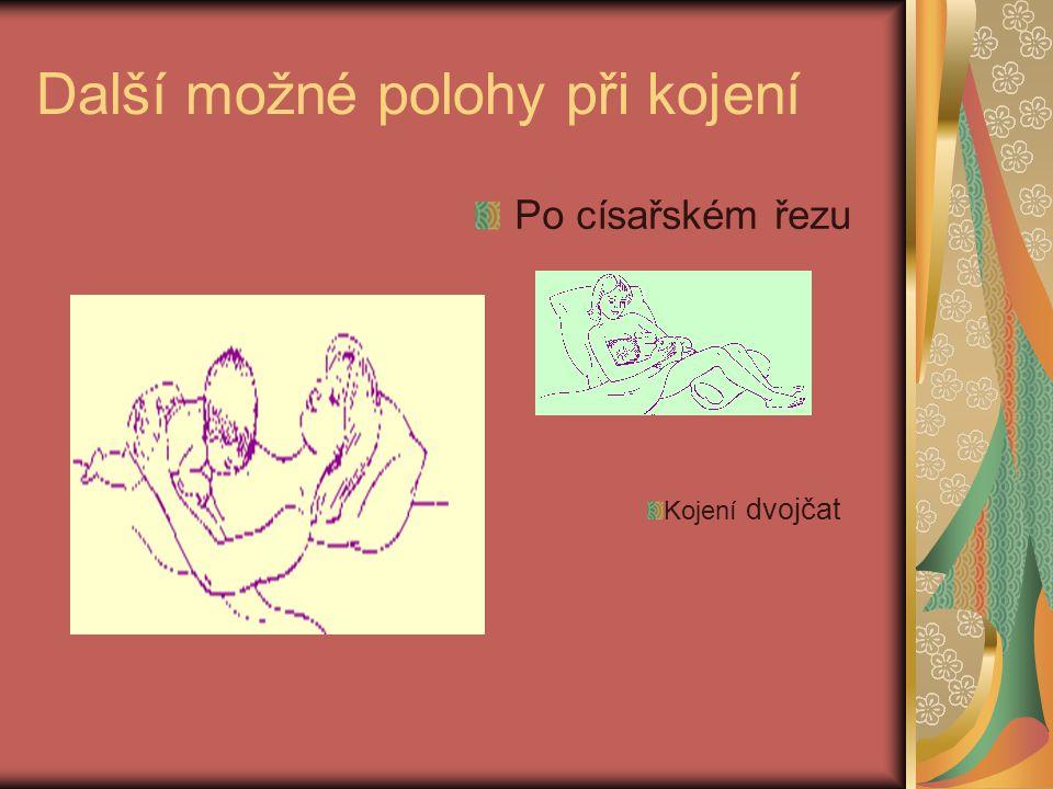 Další možné polohy při kojení Po císařském řezu Kojení dvojčat