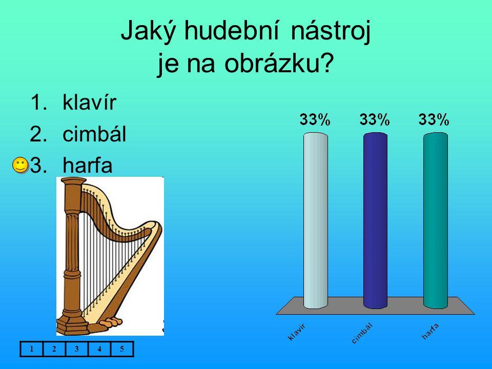 Jaký hudební nástroj je na obrázku? 12345 1.klavír 2.cimbál 3.harfa