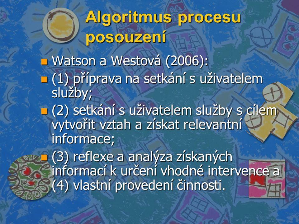 Algoritmus procesu posouzení n Watson a Westová (2006): n (1) příprava na setkání s uživatelem služby; n (2) setkání s uživatelem služby s cílem vytvořit vztah a získat relevantní informace; n (3) reflexe a analýza získaných informací k určení vhodné intervence a (4) vlastní provedení činnosti.