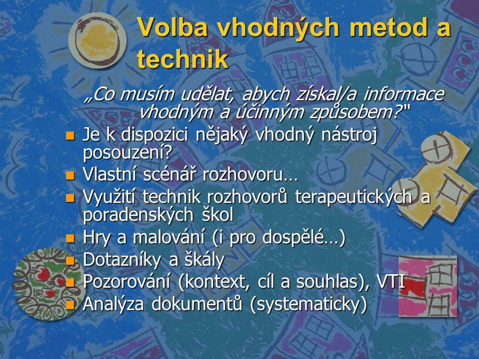 """Volba vhodných metod a technik """"Co musím udělat, abych získal/a informace vhodným a účinným způsobem? n Je k dispozici nějaký vhodný nástroj posouzení."""