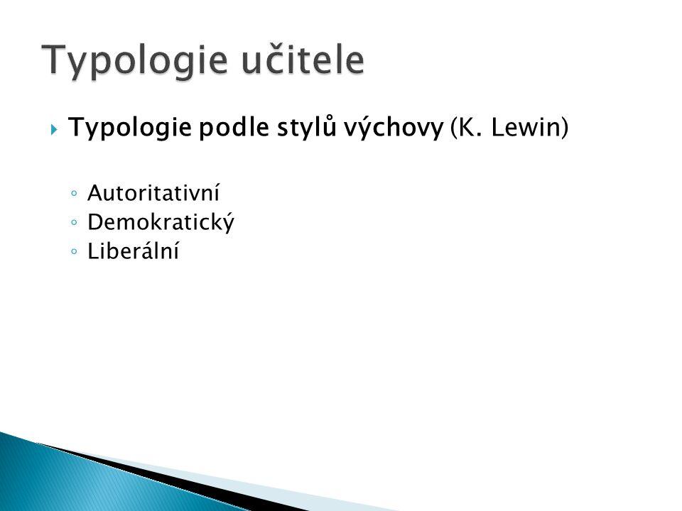  Typologie podle stylů výchovy (K. Lewin) ◦ Autoritativní ◦ Demokratický ◦ Liberální