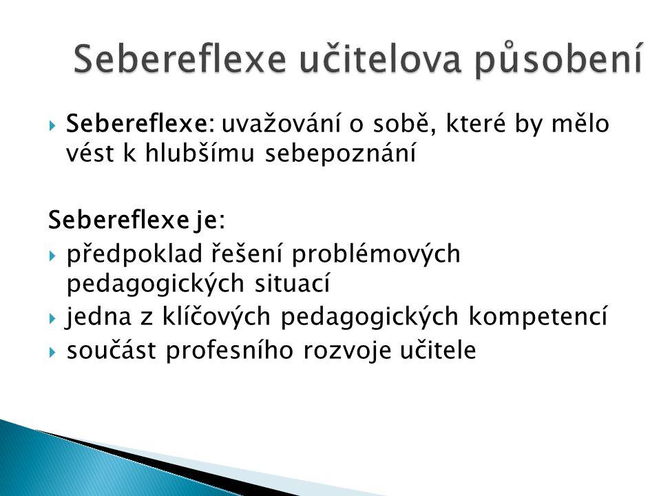  Sebereflexe: uvažování o sobě, které by mělo vést k hlubšímu sebepoznání Sebereflexe je:  předpoklad řešení problémových pedagogických situací  jedna z klíčových pedagogických kompetencí  součást profesního rozvoje učitele
