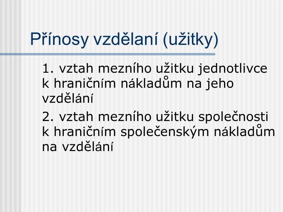 Přínosy vzdělaní (užitky) 1.