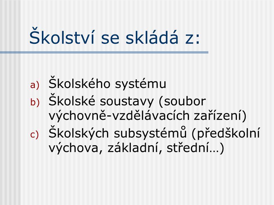 Školství se skládá z: a) Školského systému b) Školské soustavy (soubor výchovně-vzdělávacích zařízení) c) Školských subsystémů (předškolní výchova, základní, střední…)