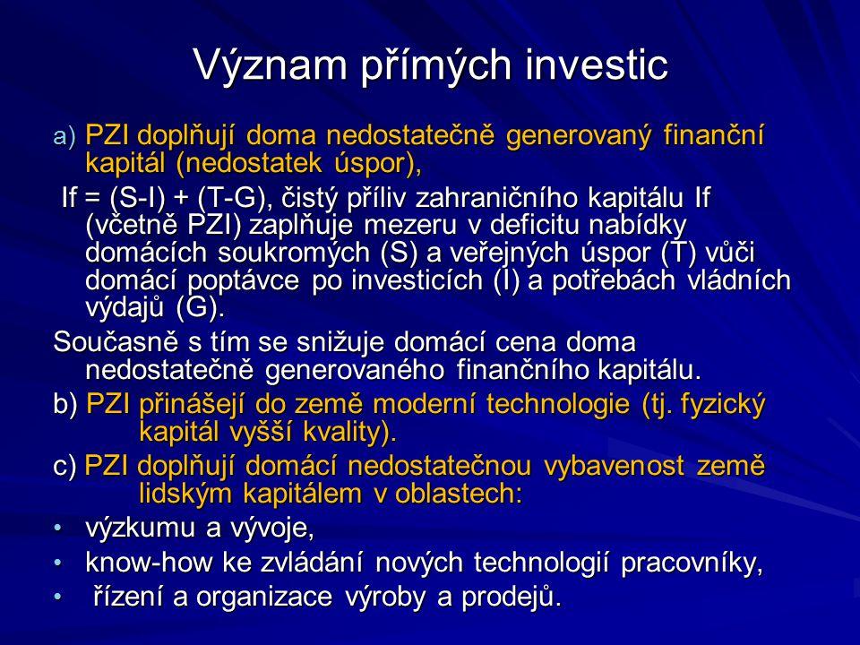 Význam přímých investic a) PZI doplňují doma nedostatečně generovaný finanční kapitál (nedostatek úspor), If = (S-I) + (T-G), čistý příliv zahraničníh
