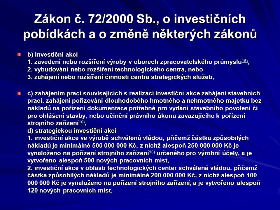 Zákon č. 72/2000 Sb., o investičních pobídkách a o změně některých zákonů b) investiční akcí 1. zavedení nebo rozšíření výroby v oborech zpracovatelsk