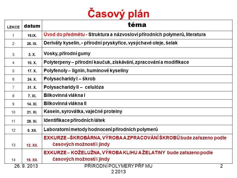 Časový plán 26. 9. 2013PŘÍRODNÍ POLYMERY PŘF MU 2 2013 2 LEKCE datum téma 119.IX. Úvod do předmětu - Struktura a názvosloví přírodních polymerů, liter