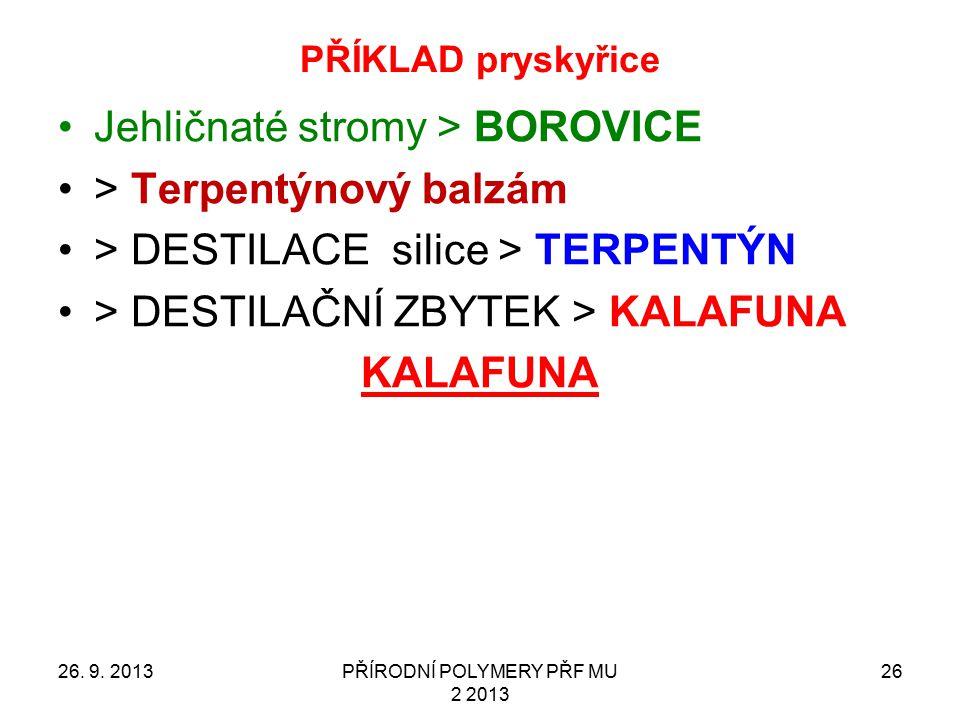 PŘÍKLAD pryskyřice 26. 9. 2013PŘÍRODNÍ POLYMERY PŘF MU 2 2013 26 Jehličnaté stromy > BOROVICE > Terpentýnový balzám > DESTILACE silice > TERPENTÝN > D