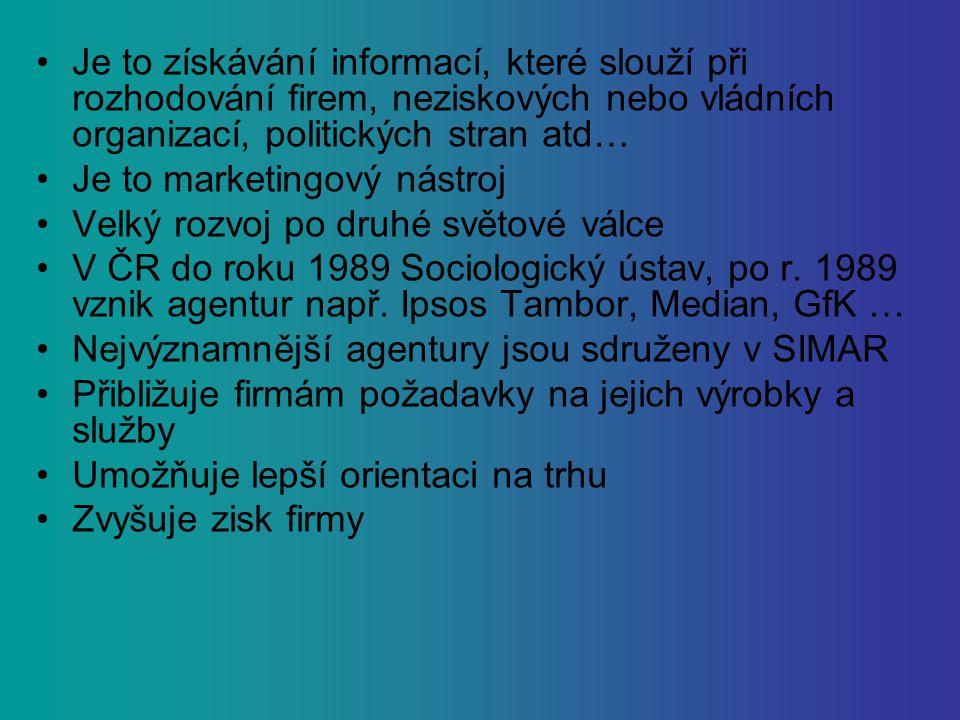 Je to získávání informací, které slouží při rozhodování firem, neziskových nebo vládních organizací, politických stran atd… Je to marketingový nástroj Velký rozvoj po druhé světové válce V ČR do roku 1989 Sociologický ústav, po r.
