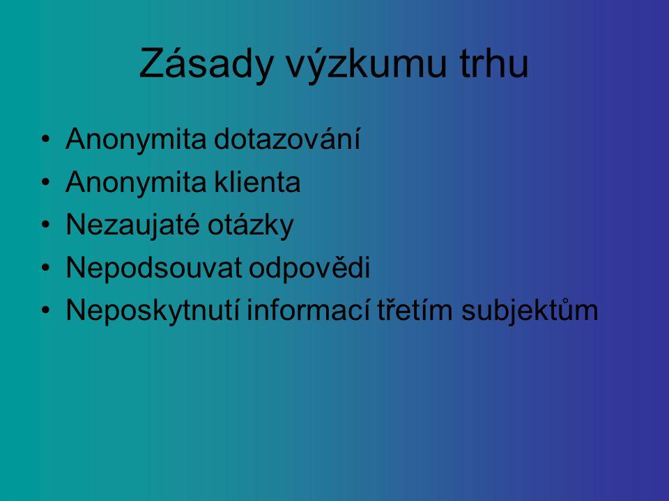 Zásady výzkumu trhu Anonymita dotazování Anonymita klienta Nezaujaté otázky Nepodsouvat odpovědi Neposkytnutí informací třetím subjektům