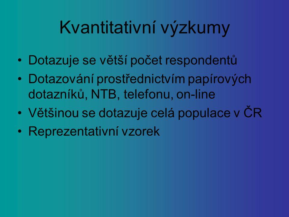 Kvantitativní výzkumy Dotazuje se větší počet respondentů Dotazování prostřednictvím papírových dotazníků, NTB, telefonu, on-line Většinou se dotazuje celá populace v ČR Reprezentativní vzorek