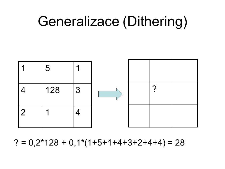 Generalizace (Dithering) 151 41283 214 = 0,2*128 + 0,1*(1+5+1+4+3+2+4+4) = 28