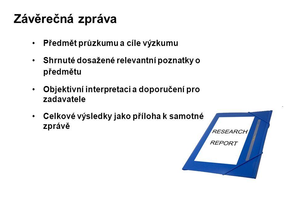 Závěrečná zpráva Předmět průzkumu a cíle výzkumu Shrnuté dosažené relevantní poznatky o předmětu Objektivní interpretaci a doporučení pro zadavatele Celkové výsledky jako příloha k samotné zprávě