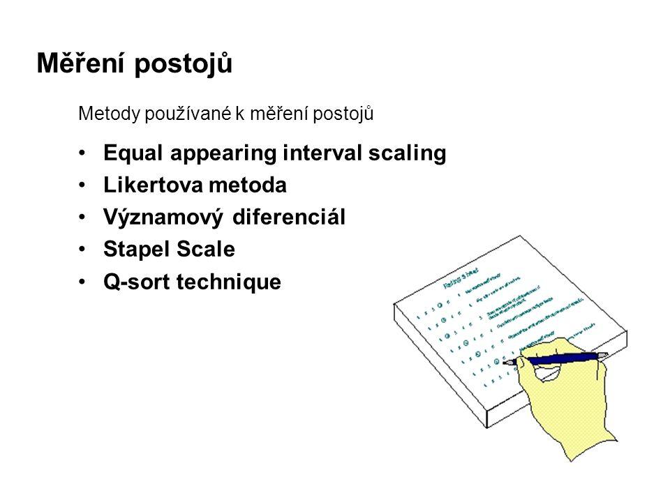 Měření postojů Metody používané k měření postojů Equal appearing interval scaling Likertova metoda Významový diferenciál Stapel Scale Q-sort technique