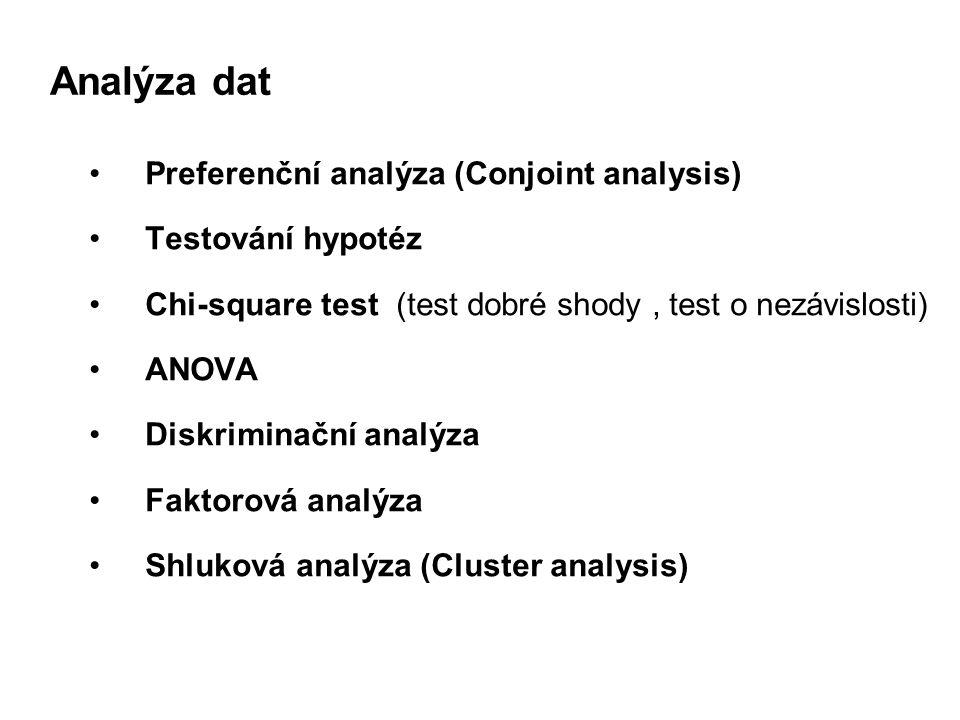 Analýza dat Preferenční analýza (Conjoint analysis) Testování hypotéz Chi-square test (test dobré shody, test o nezávislosti) ANOVA Diskriminační analýza Faktorová analýza Shluková analýza (Cluster analysis)