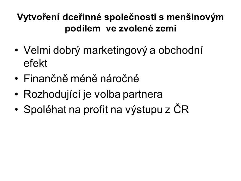 Vytvoření dceřinné společnosti s menšinovým podílem ve zvolené zemi Velmi dobrý marketingový a obchodní efekt Finančně méně náročné Rozhodující je volba partnera Spoléhat na profit na výstupu z ČR