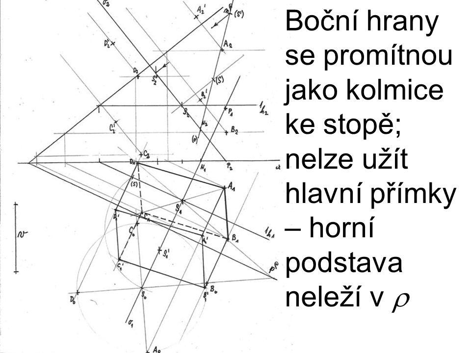 Boční hrany se promítnou jako kolmice ke stopě; nelze užít hlavní přímky – horní podstava neleží v 