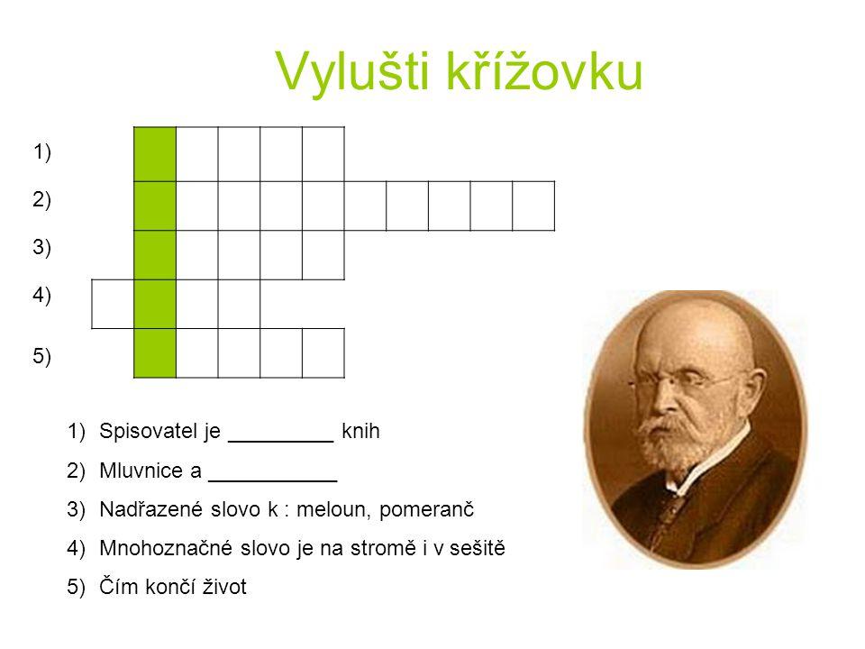 Vylušti křížovku 1) 2) 3) 4) 5) 1)Spisovatel je _________ knih 2)Mluvnice a ___________ 3)Nadřazené slovo k : meloun, pomeranč 4)Mnohoznačné slovo je