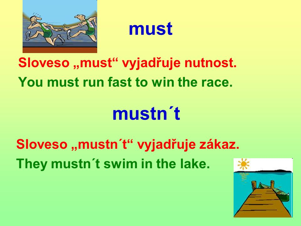 "must Sloveso ""must vyjadřuje nutnost. You must run fast to win the race."