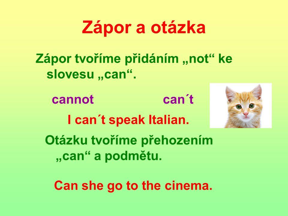 """Zápor a otázka Zápor tvoříme přidáním """"not ke slovesu """"can ."""