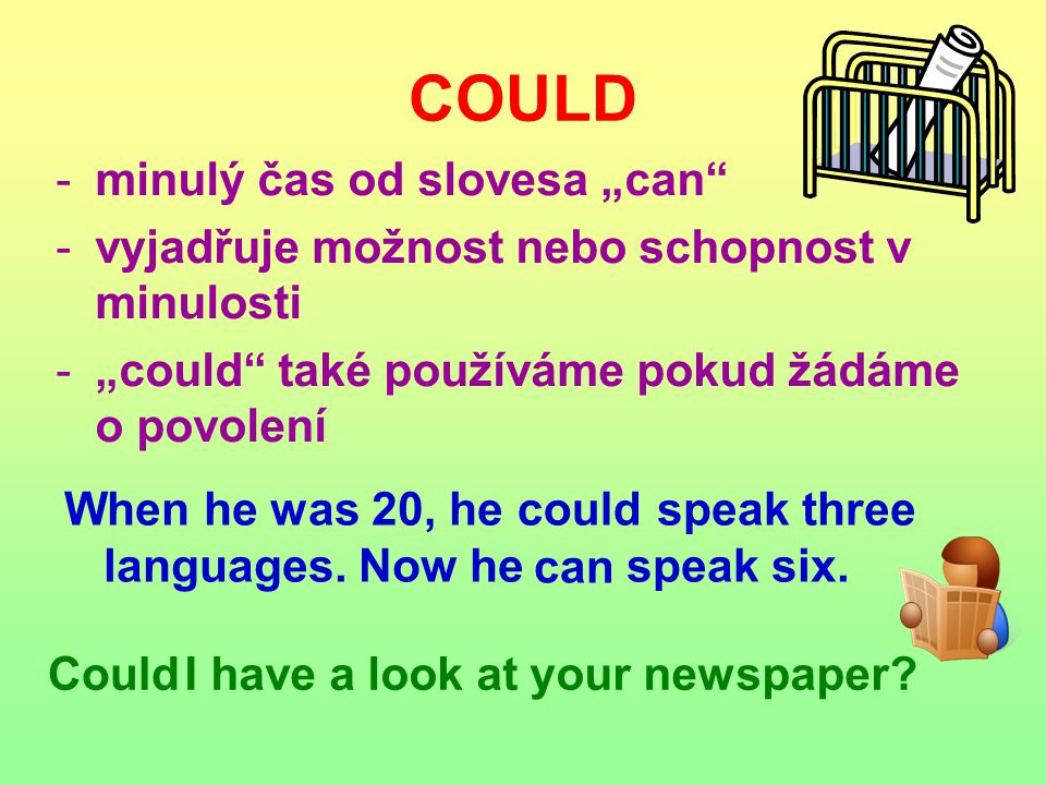 """COULD -minulý čas od slovesa """"can -vyjadřuje možnost nebo schopnost v minulosti -""""could také používáme pokud žádáme o povolení When he was 20, he speak three languages."""