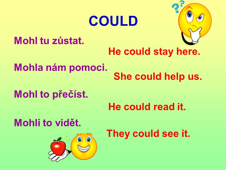 Mohl tu zůstat. COULD He could stay here. Mohla nám pomoci. She could help us. He could read it. They could see it. Mohl to přečíst. Mohli to vidět.