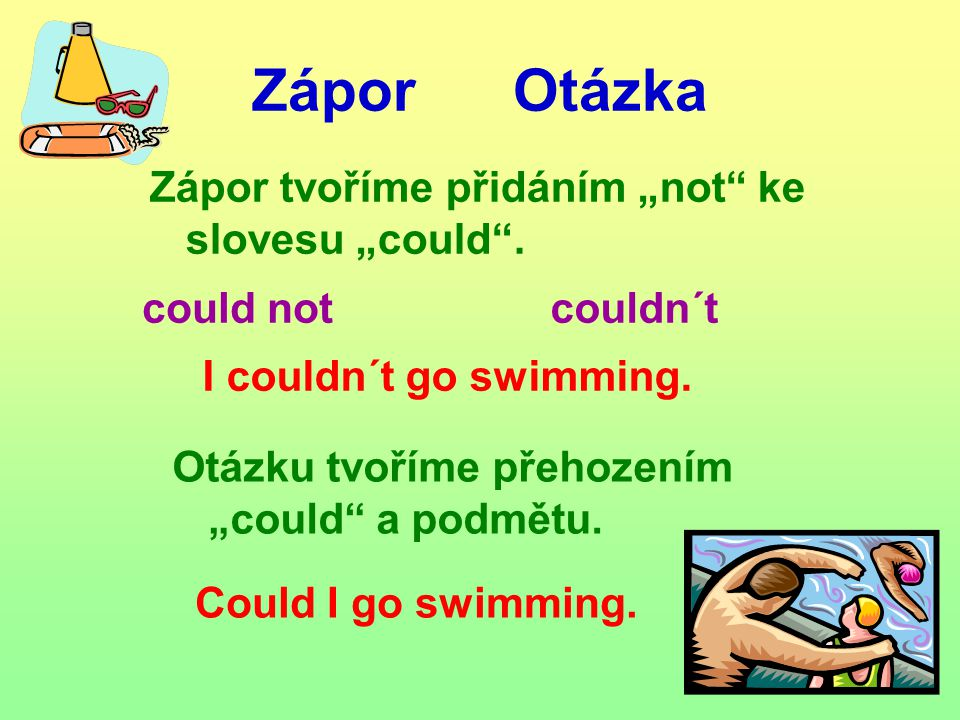Zápor Otázka could notcouldn´t I couldn´t go swimming.