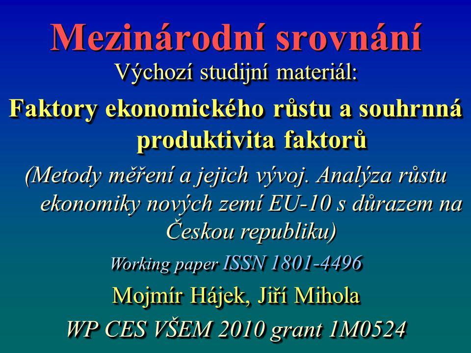Mezinárodní srovnání Výchozí studijní materiál: Faktory ekonomického růstu a souhrnná produktivita faktorů (Metody měření a jejich vývoj.