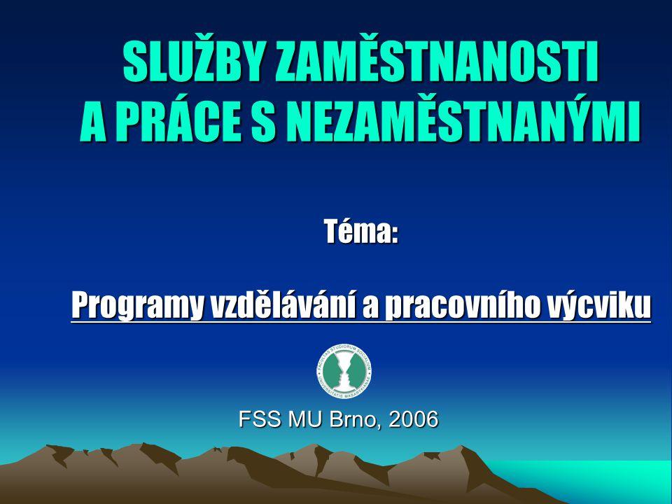 SLUŽBY ZAMĚSTNANOSTI A PRÁCE S NEZAMĚSTNANÝMI Téma: Programy vzdělávání a pracovního výcviku FSS MU Brno, 2006