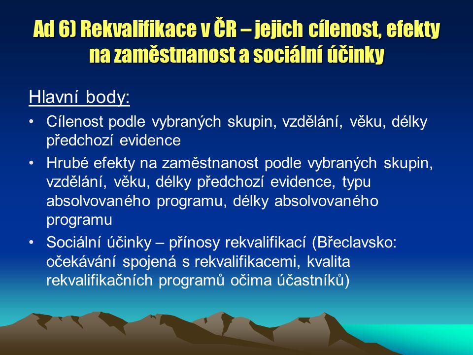 Ad 6) Rekvalifikace v ČR – jejich cílenost, efekty na zaměstnanost a sociální účinky Hlavní body: Cílenost podle vybraných skupin, vzdělání, věku, délky předchozí evidence Hrubé efekty na zaměstnanost podle vybraných skupin, vzdělání, věku, délky předchozí evidence, typu absolvovaného programu, délky absolvovaného programu Sociální účinky – přínosy rekvalifikací (Břeclavsko: očekávání spojená s rekvalifikacemi, kvalita rekvalifikačních programů očima účastníků)