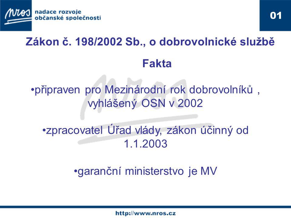 01 připraven pro Mezinárodní rok dobrovolníků, vyhlášený OSN v 2002 zpracovatel Úřad vlády, zákon účinný od 1.1.2003 garanční ministerstvo je MV Zákon