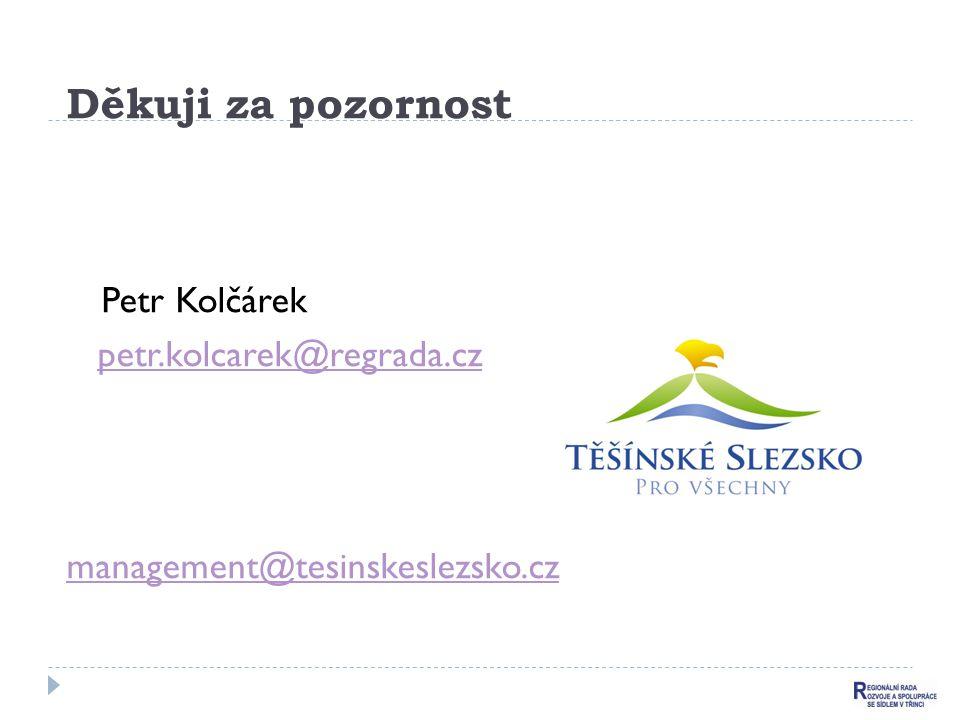 Děkuji za pozornost Petr Kolčárek petr.kolcarek@regrada.cz management@tesinskeslezsko.cz