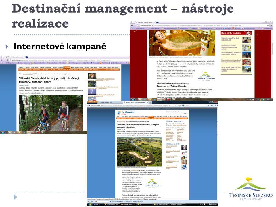 Destinační management – nástroje realizace  Internetové kampaně