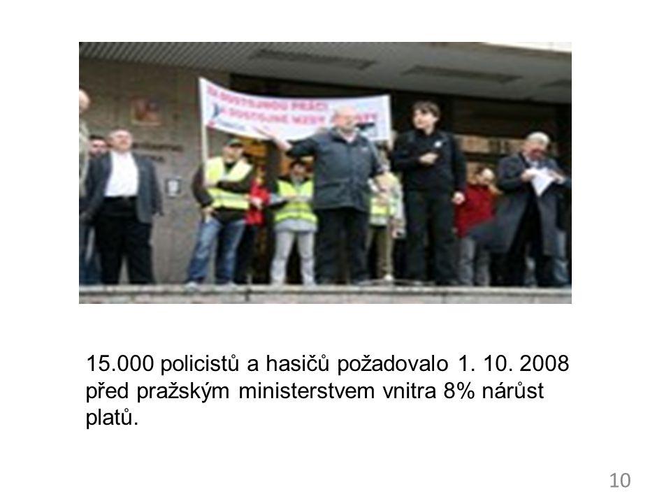 10 15.000 policistů a hasičů požadovalo 1. 10. 2008 před pražským ministerstvem vnitra 8% nárůst platů.