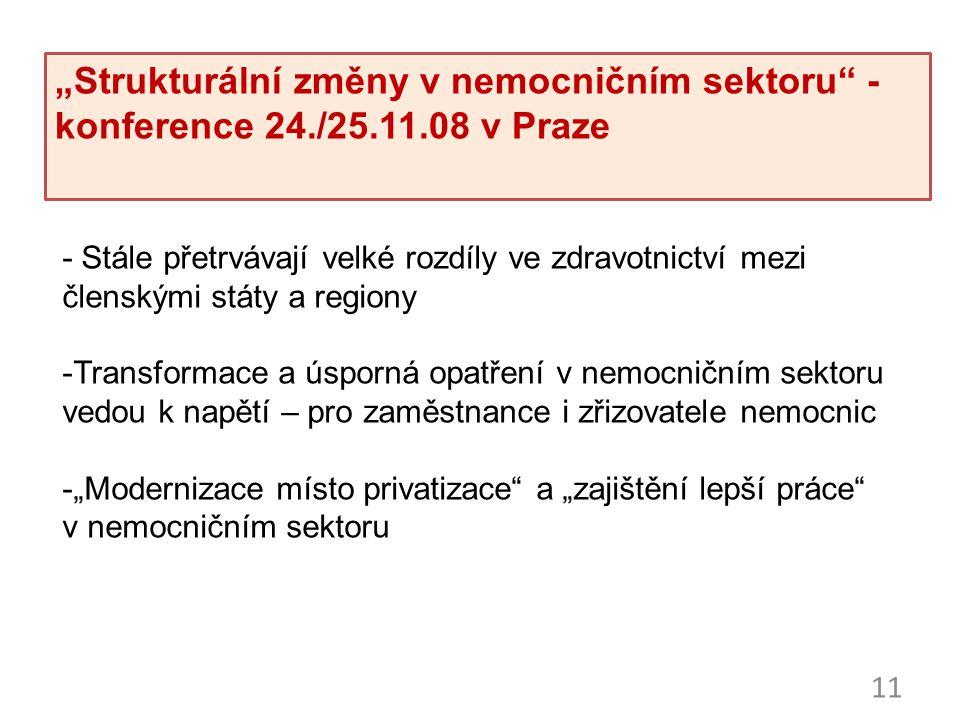 """11 """"Strukturální změny v nemocničním sektoru"""" - konference 24./25.11.08 v Praze - Stále přetrvávají velké rozdíly ve zdravotnictví mezi členskými stát"""